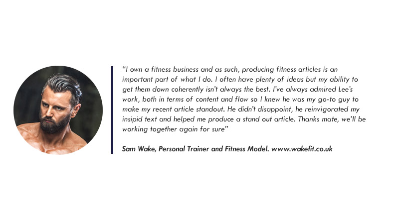 A testimonial from Sam Wake